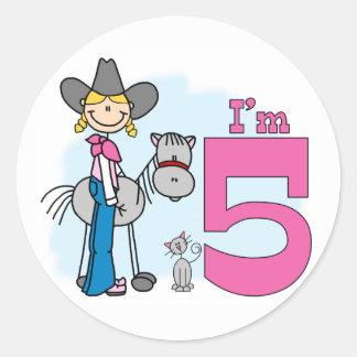 Stick Cowgirl 5th Birthday Classic Round Sticker