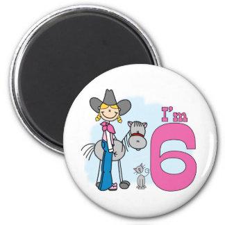 Stick Cowgirl 6th Birthday 2 Inch Round Magnet