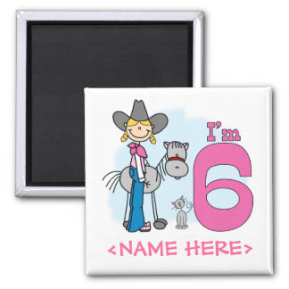 Stick Cowgirl 6th Birthday 2 Inch Square Magnet