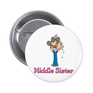 Stick Cowgirl Middle Sister 2 Inch Round Button