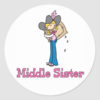 Stick Cowgirl Middle Sister Classic Round Sticker