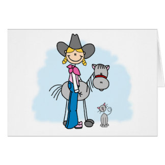 Stick Cowgirl N Horse Card