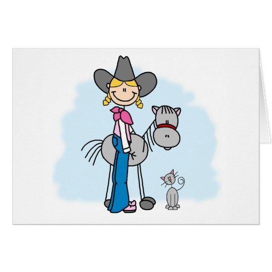 Stick Cowgirl N Horse Card