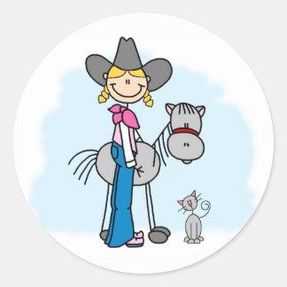 Stick Cowgirl N Horse Classic Round Sticker