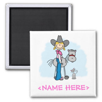 Stick Cowgirl N Horse Magnet