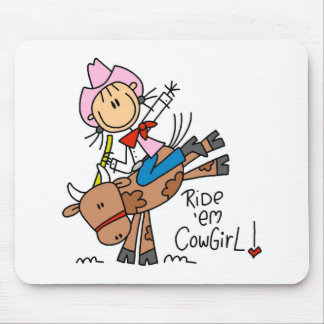 Stick  Cowgirl Riding Bull Mousepad