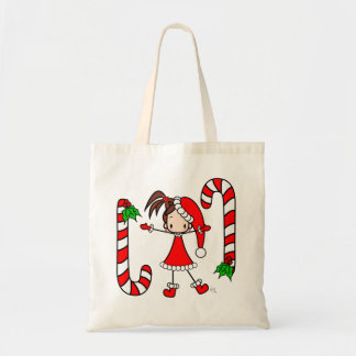 Stick cute Christmas brunette girl and candy canes Tote Bag