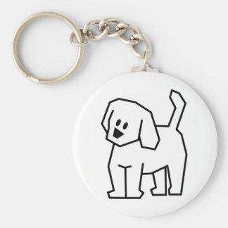 STICK DOG CARTOON CUTE HAPPY PUPPY PET DOGGIE BASIC ROUND BUTTON KEYCHAIN