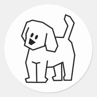STICK DOG CARTOON CUTE HAPPY PUPPY PET DOGGIE CLASSIC ROUND STICKER