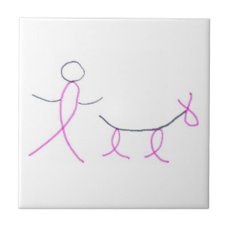 Stick Dog & Person Cancer Awareness Tile