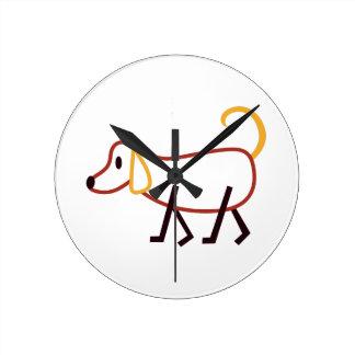 Stick Dog Round Clock