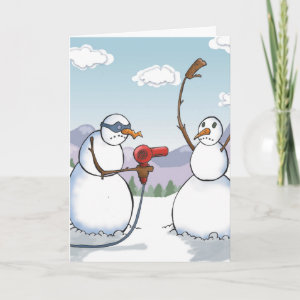 Bad Snowman With Hairdryer Hold Up