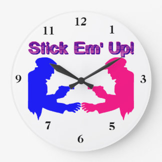 Stick Em Up Gangsters Large Clock