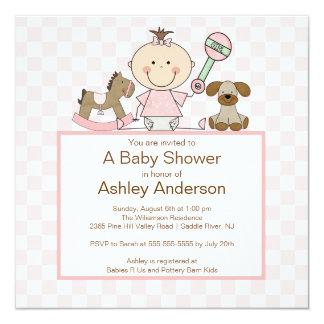 Stick Figur Baby Girl Baby Shower Card