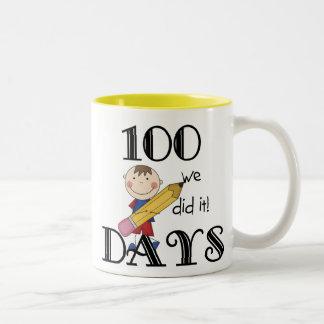 Stick Figure 100 Days Two-Tone Coffee Mug
