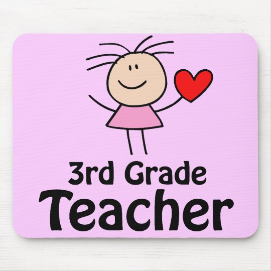 Stick Figure 3rd Grade Teacher Mousepad