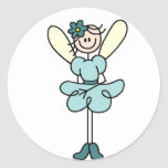 Stick Figure Angel In Teal Sticker