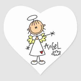 Stick Figure Angel T-shirts and Gifts Heart Sticker