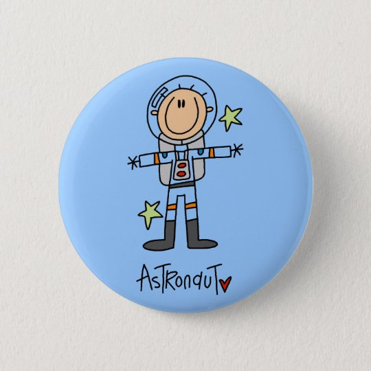 Stick Figure Astronaut T-shirts and Gifts Button