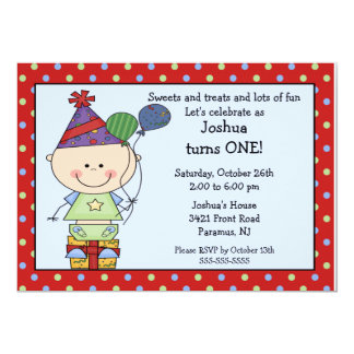 Stick Figure Baby Boy 1st Birthday Invitation