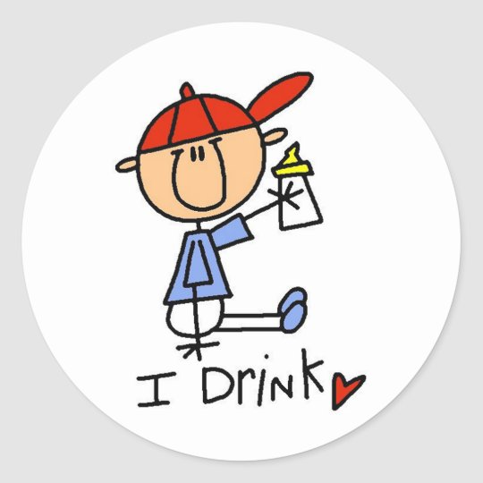 Stick Figure Baby I Drink Tshirts and Gifts Classic Round Sticker