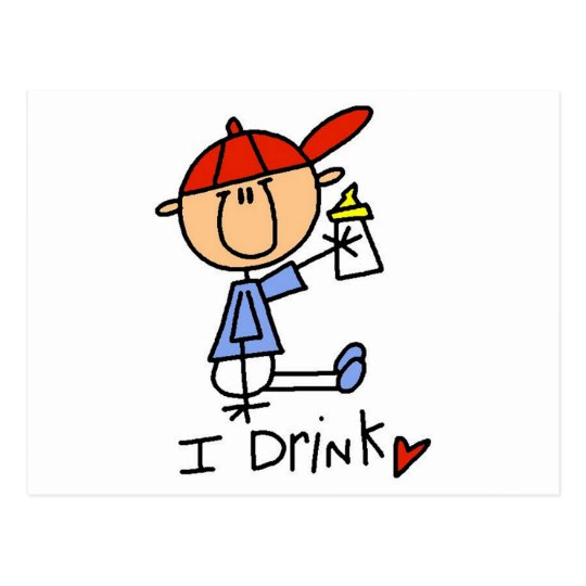 Stick Figure Baby I Drink Tshirts and Gifts Postcard