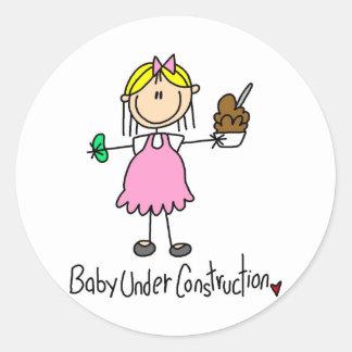 Stick Figure Baby Under Construction Classic Round Sticker
