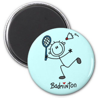 Stick Figure Badminton T-shirts and Gifts 2 Inch Round Magnet