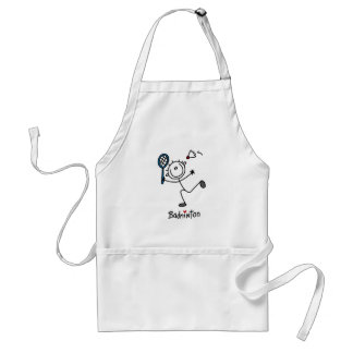 Stick Figure Badminton T-shirts and Gifts Apron