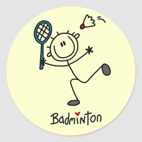 Stick Figure Badminton T-shirts and Gifts Classic Round Sticker