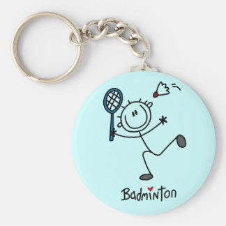 Stick Figure Badminton T-shirts and Gifts Keychain