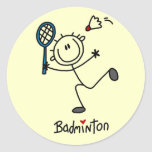 Stick Figure Badminton T-shirts and Gifts Round Stickers