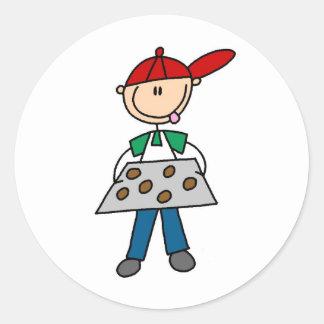 Stick Figure Baking Cookies Classic Round Sticker