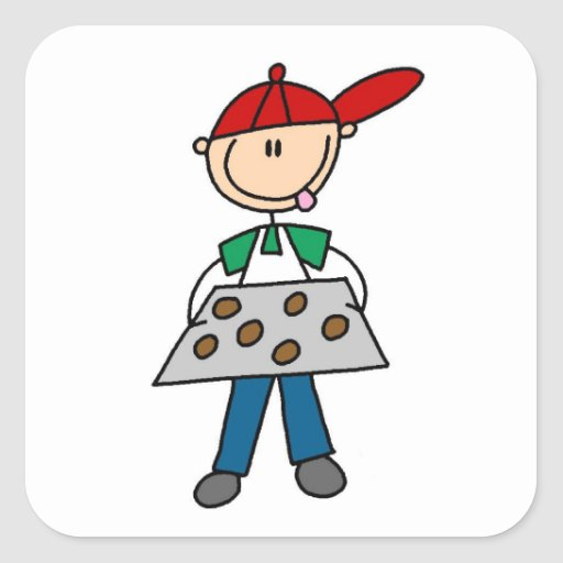 Stick Figure Baking Cookies Square Sticker