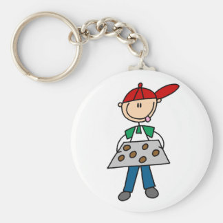 Stick Figure Baking Cookies Tshirts and Gifts Basic Round Button Keychain