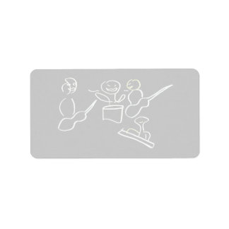 Stick figure band white outline personalized address label