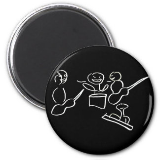 Stick figure band white outline refrigerator magnet