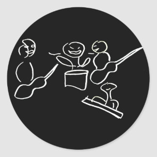 Stick figure band white outline round stickers