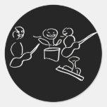Stick figure band white outline classic round sticker