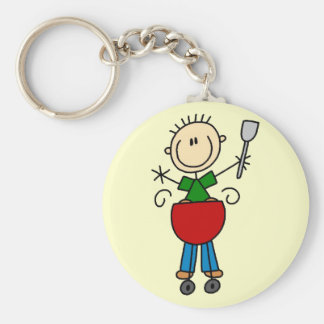 Stick Figure Barbequeing T-shirts and gifts Key Chain