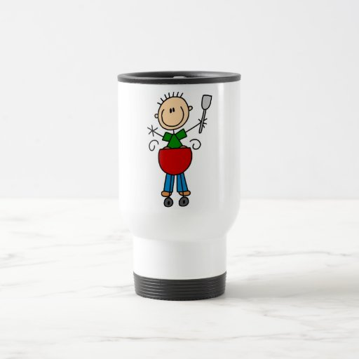 Stick Figure Barbequeing T-shirts and gifts 15 Oz Stainless Steel Travel Mug