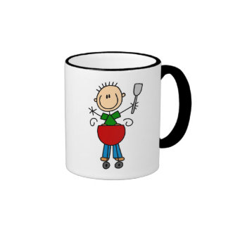 Stick Figure Barbequeing T-shirts and gifts Ringer Coffee Mug