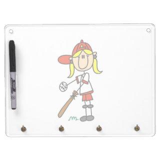 Stick Figure Baseball Up At Bat Dry Erase Board With Keychain Holder