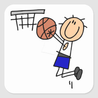 Stick Figure Basketball Sink T-shirs and Gifts Square Sticker