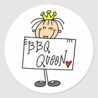 Stick Figure BBQ Queen Classic Round Sticker