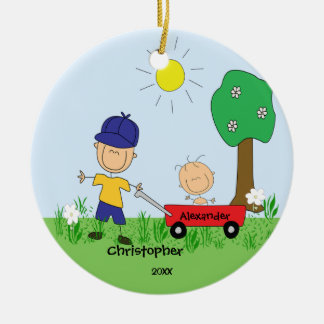 Stick figure Big & Lil Brother Christmas Ornament
