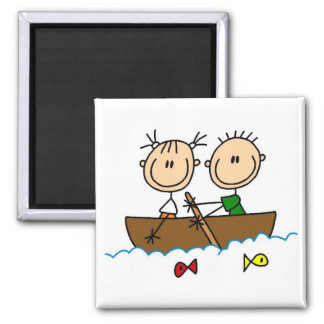 Stick Figure Boat Fishing Tshirts and Gifts 2 Inch Square Magnet