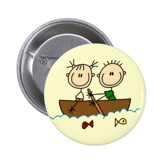 Stick Figure Boat Fishing Tshirts and Gifts Pinback Buttons