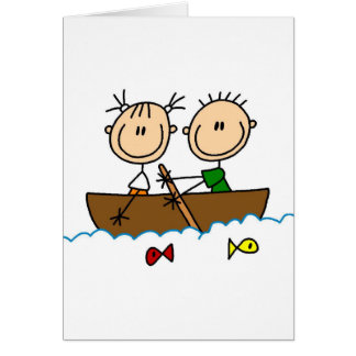 Stick Figure Boat Fishing Tshirts and Gifts Card