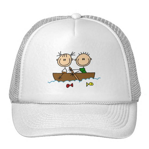 Stick Figure Boat Fishing Tshirts and Gifts Trucker Hat